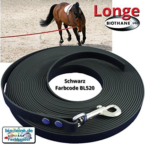 Longe Longierleine für Pferde 16mm aus Beta BioThane®, Pferdelonge Longen für Reitsport, 8 Meter lang in Schwarz