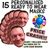 Party People 15 x PERSONALISED READY TO WEAR CUSTOM FUN FACE MASKS