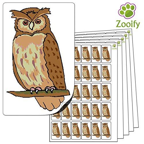 480 x Aufkleber - Eule (38 x 21 mm). Hochwertige selbstklebende Etiketten mit Tiermotiv von Zooify.