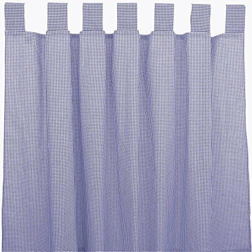 Preisvergleich Produktbild Sugarapple Dekoschal, Gardine, Vorhang (über 35 Farben wählbar) mit Schlaufen aus Baumwolle für Kinderzimmer und Babyzimmer. 2 Schals, Breite 143 cm, Länge 145 cm, Karo dunkelblau