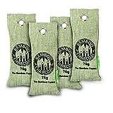 Bolsas de Carbon Activado de Bambú purificador de Aire para el hogar 100% Natural - Bolsas Antihumedad y neutralizador de olores para casa y ambientador Coche - 4X Bolsa Reusable