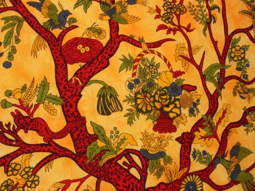 PLAIN TREE OF LIFE WALL ART SINGLE BED SOFA THROW BEDDING COVER boho yoga tapestry GREEN RED ORANGE BLUE WHITE (ORANGE)