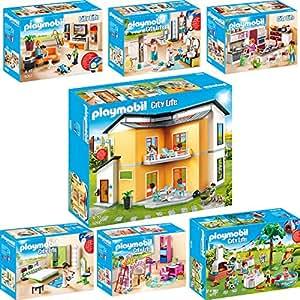 Playmobil city life 7er set 9266 9267 9268 9269 9270 9271 9272 modernes wohnhaus wohnzimmer - Toute les maison playmobil ...