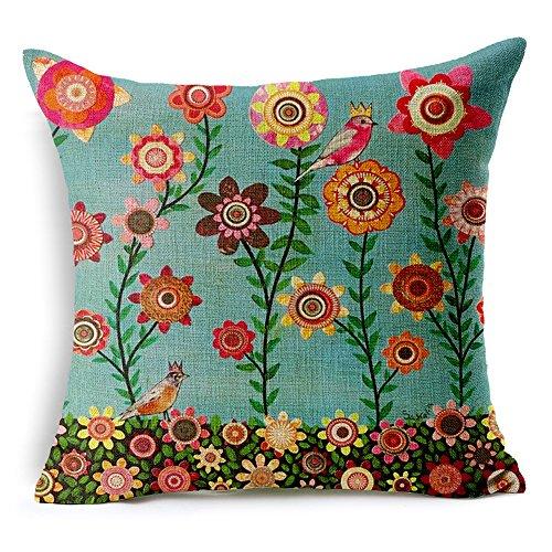 Venkaite federa cuscino cotone misto lino federe per cuscini famiglia divano decorativo 45 x 45 cm (stile 1)