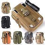 Bolsa táctica para cinturón, de 51ZMT, diseño militar, con cremallera, para almacenar el teléfono móvil, para actividades al aire libre, senderismo, acampada, ciclismo, negro