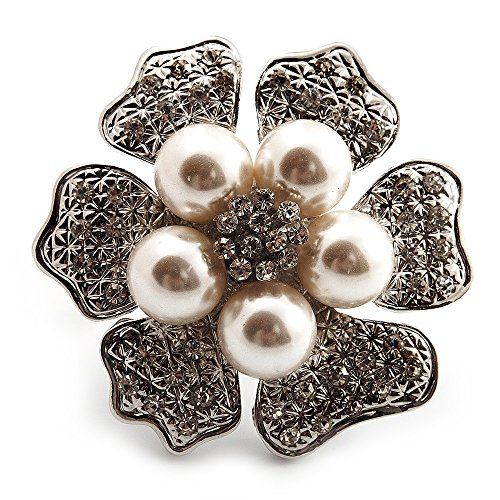 Übergroße mit Simuliert Pearl Daisy Cocktail Ring (Silber Tone Metall)-4,5cm Durchmesser