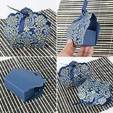 BUONDAC 50stk Bonboniere & 50stk Satinbänder Gastgeschenk Hochzeit Taufe Gastgeschenke Box Geschenkbox klein für Süßigkeiten Geschenkschachtel Pralinenschachtel leer (Blau) - 4