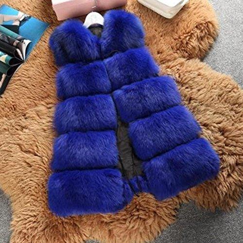 Donna Gilet Di Pelliccia Cappotto Senza Maniche Giacchetto Giubbotto Faux Fur Lungo Giacca Parka Blau