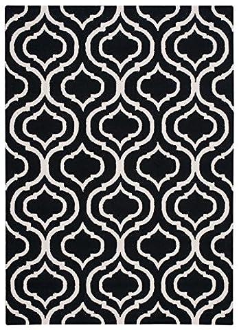 Nourison Teppich Mondrian 99446279897–Schwarz/Weißer handgewebt Teppich, schwarz/weißer, 7ft 6x 9ft 6