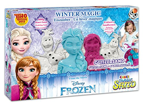 #Craze 54230 – Magic Sand Frozen Winter Magic Box., ca. 600g Sand mit Glitzer in 3 verschiedenen Farben#