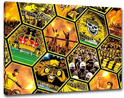 Dortmund Mosaik, Bild auf Leinwand XL , fertig gerahmt, 80 x 60 cm