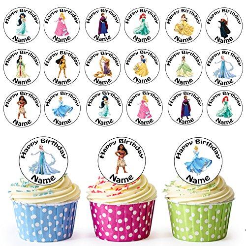 Disney Prinzessinnen Mix 24 Personalisierte Essbare Cupcake Aufleger / Geburtstagskuchen Dekorationen – Einfache Vorgeschnittene ()