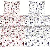 Aminata Kids Bettwäsche Sterne blau 135x200 cm Baumwolle Teenager-Jungen-Mädchen hellblau Bettwäsche Sternmotiv dunkelblau Reißverschluss serinity