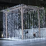 Nikekaco 9.84ft x 9.84ft 300LED Icicle Curtain Fairy String Lights Wedding Party Xmas Decor ,Window Icicle Fairy Lights for Home, Garden, Wedding, Party, Photo Booth (white)