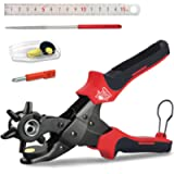 DSL 10'' Belt Hole Puncher Power Assist Heavy Duty Revolving Eyelet Punch Pliers with Spare Accessories, Punching and…