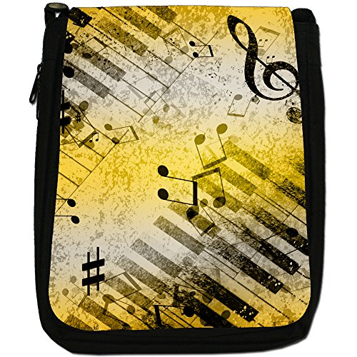 Vintage grunge Note Musicali Medium Nero Borsa In Tela, taglia M Music Medleys With Notes