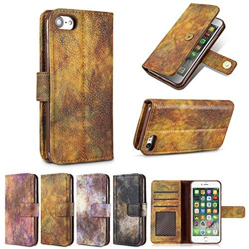 Cover iphone 8, Alfort 2 in 1 Custodia Alta qualità Cuoio Flip Stand Case per la Custodia iphone 8 Ci sono Funzioni di Supporto e Portafoglio Serie Forestale ( Colore dellimmagine ) 5,8 pollici Giallo autunno