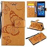 Hozor Sony Xperia Z3 Compact Handyhülle, Retro Großer Schmetterling Muster PU Kunstleder Ledercase Brieftasche Kartenfächer Schutzhülle mit Standfunktion Magnetverschluss Flip Cover Tasche, Goldgelb