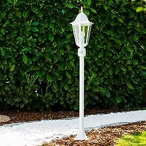 Lampe extérieure Lampadaire Borne d'éclairage avec détecteur de mouvement blanc