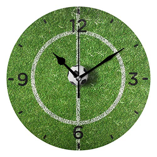 (SENNSEE Wanduhr mit Fußball-Motiv, Acryl, dekorative runde Uhr, Dekoration für Wohnzimmer, Schlafzimmer)