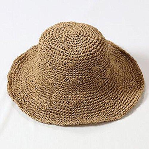 Hat Hut-Sommer-Damen-Hand häkeln Kleiner Fächerfischer-Becken-Hut Faltbarer ()