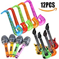 Yojoloin 12PCS Inflatables Guitar Saxophone Microphone Balloons Musical Instruments Accessories For Party Supplies Party Favors Balloons Random Color (12 PCS)