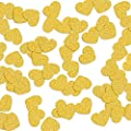 JUSLIN 200pcs 1.2-inch Gold Glitter Confetti Hearts for Wedding, Birthday Party and Dining Table Decoration - inexpensive UK light shop.