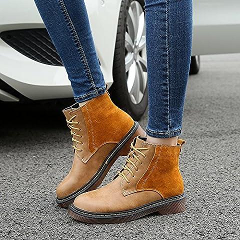 NSXZ Weibliche Lederstiefel Schuhe dick mit Martin Stiefel Spitze Stiefel