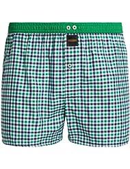 """Mailando Herren Boxershorts """"Checkered"""" 100% Baumwolle American Web Boxer kariert in blau, rot, grün, gold und braun"""