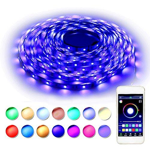 RaThun LED Streifen Beleuchtung 10M 32.8 Ft 5050 RGB 300 LED Flexible Farbe wechselnden Komplettpaket mit Bluetooth Smartphone App Controller, 12V 5A Netzteil für Heim Dekorative (32.8Ft-RGB-300LEDS)