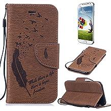 Ultra Slim Case para Galaxy S5/S5 NEO Funda Libro Suave PU Leather Cuero- Sunroyal ® Bookstyle Cobertura Wallet Case Con Flip Cover Cierre Magnético,Función de Soporte Billetera con Tapa para Tarjetas Protección Caja del Teléfono para Samsung Galaxy S5/S5 NEO/I9600/G900 +1x Protector de Pantalla - Brown Marrón