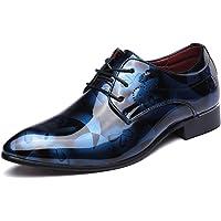 Scarpe Uomo Pelle, Derby Stringate Basse Elegante Sera Oxford Vintage Verniciata Marrone Blu Grigio Rosso 37-50EU