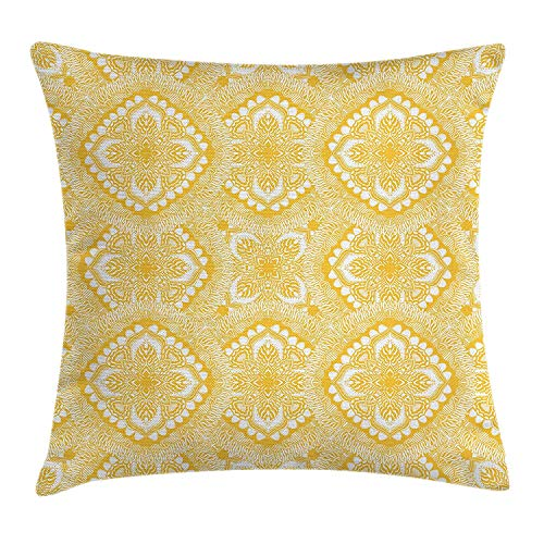 1 Doily Rose (VVIANS Yellow Mandala Throw Pillow Cushion Cover, Oriental Doily Napkin Motifs Featured Asian Decorative Elements Curves, Decorative Square Accent Pillow Case, 18 X 18 Inches, Yellow and White)