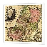 3dRose 1759Image de la Carte du Biblique Douze Tribus d'Israël et Ancienne Palestine-Quilt carré, Multicolore, X 15,2cm