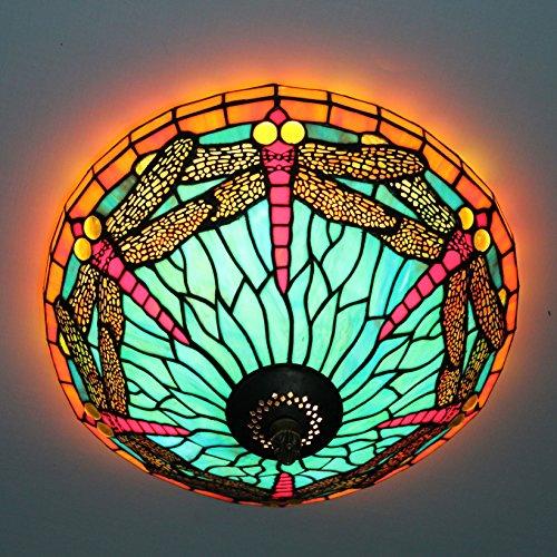 16-Zoll-Europäischen Retro Style Dragonfly Tiffany-Buntglas-Unterputz Deckenleuchte Esszimmer Licht (22 Tiffany Deckenleuchte)