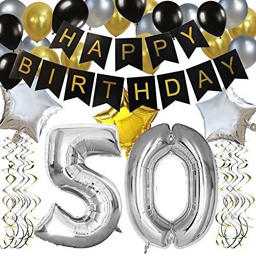 """KUNGYO Clásico Decoración de Cumpleaños -""""Happy Birthday"""" Bandera Negro;Número 50 Globo;Balloon de Látex&Estrella, Colgando Remolinos Partido para el Cumpleaños de 50 Años"""
