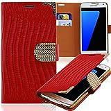 Luxus Strass Handy Tasche Schutz Hülle für HTC One S (Z520e) Rot Book-Style Leder Etui Glitzer Case Cover Bag