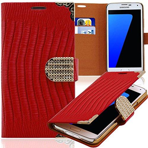 Handy Tasche mit Strass-Steinen Schutz Hülle Für Samsung Galaxy Note 3 Neo in Rot Flip Cover Wallet Case Book Style Klapp Etui Schale