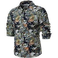 Herren Oberteile,TWBB Mode Blume Drucken Shirt Männer Tops V-Ausschnitt Lange Ärmel Schlank Hemd Persönlichkeit Sweatshirts