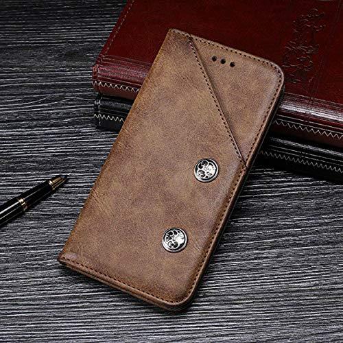 futypei für Motorola One Vision Hülle, Leder Flip Case mit Standfunktion &Kartenfach Magnetisch Ledertasche Handyhülle Schutzhülle Tasche Brieftasche Etui für Motorola One Vision Braun -
