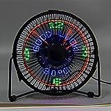 Wenyan USB LED Uhr Mini Fan mit Echtzeit Temperaturanzeige Desktop Lüfter Für Home Office