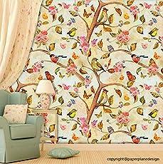 Paper Plane Design Premium Self Adhesive Sticker Wallpaper. Theme - Flowers & Tree Branches