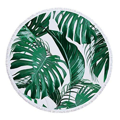 Gedruckte runde Strandtuch Yogamatte Tropische Blätter Serie -03 150 * 150cm -