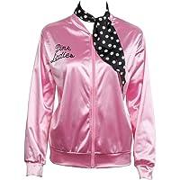 Ladies Giacca in raso Giubbotto rosa con sciarpa in polka dot 1950s Costume Lady Giacche donne Pink per feste mascherate…