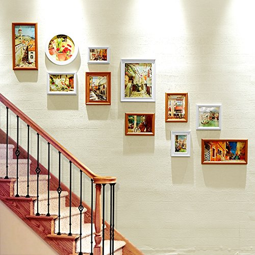 XIAOHUAHUA Flur Treppe, Foto Wand, Bilderrahmen, Wand, Wohnzimmer, Schlafzimmer Einrichtung, Bilderrahmen, Wohnwand, Foto An Der Wand, Massivholz, 11 Bilderrahmen.