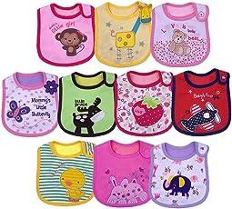 Yafane Baby Lätzchen Wasserdicht Weich 10er Babylätzchen aus Baumwolle mit Klettverschluss für Baby Mädchen Kleinkinder