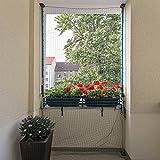 ALLEGRA Katzennetz für Balkon oder Fenster, Katzenschutznetz mit Halterung, Set mit Netz + 2X Teleskopstange ohne Bohren zum Klemmen (1m-1,75m + Netz 8x2m)