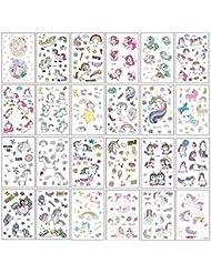 400+ autocollants de tatouage temporaire de Licorne de conception, décorations de fête d'anniversaire de Licorne fournit des faveurs pour enfants, enfants, filles, garçons, adolescents (25 feuilles)