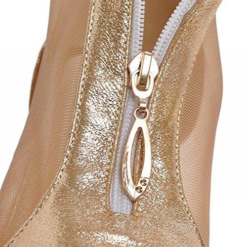 Mee Shoes Damen Niedrig Mesh Klettverschluss Sandalen Gold