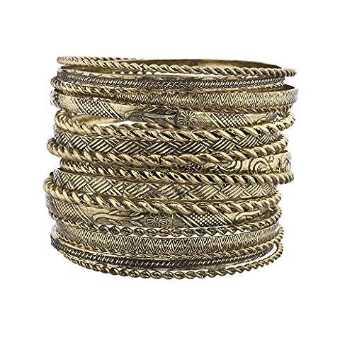 Lux Accessoires Fleur mixtes en métal aztèque Multi Bracelet Lot Burnish Doré